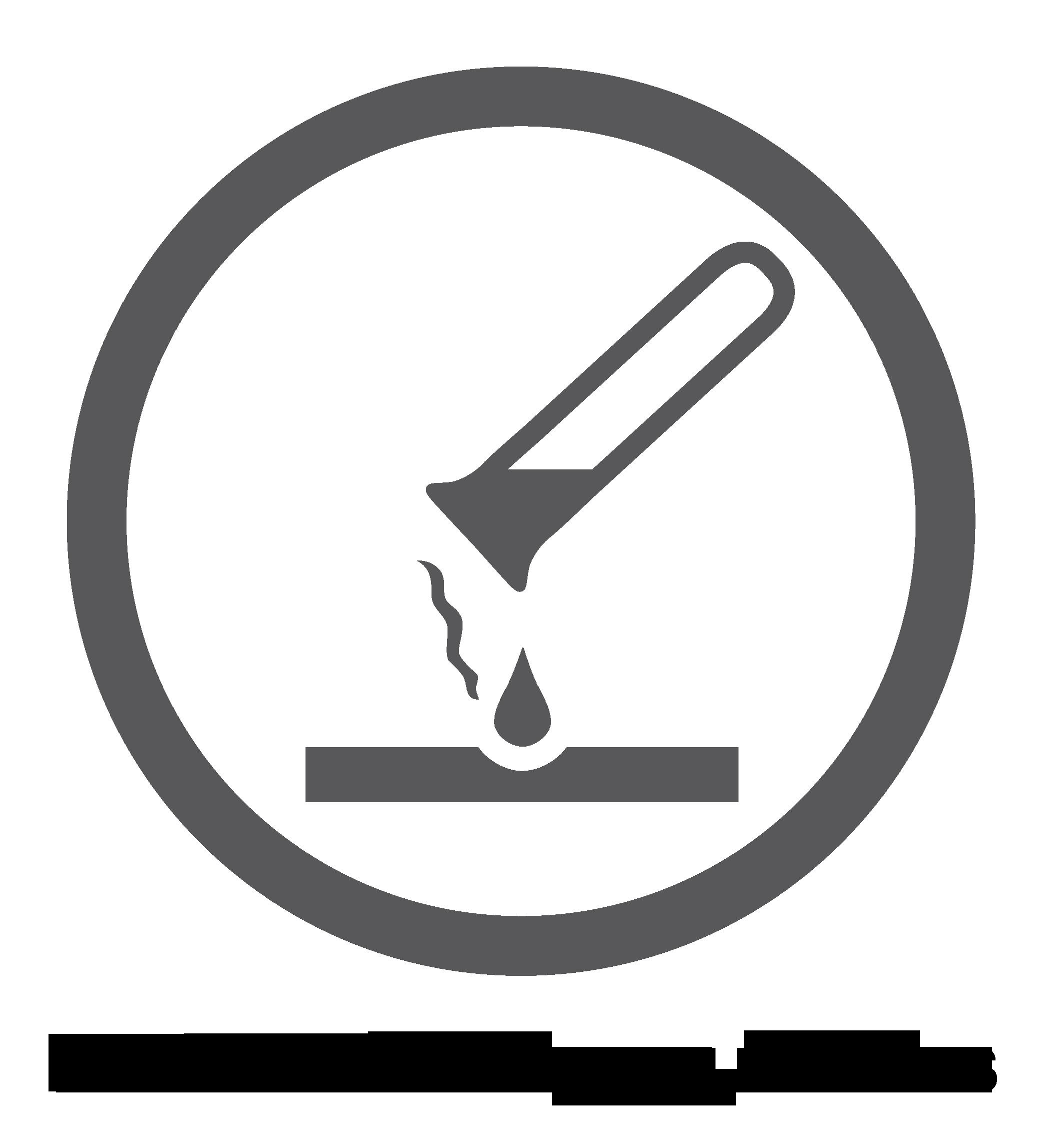 """Logotipo de """"superficie resistente a los químicos"""""""