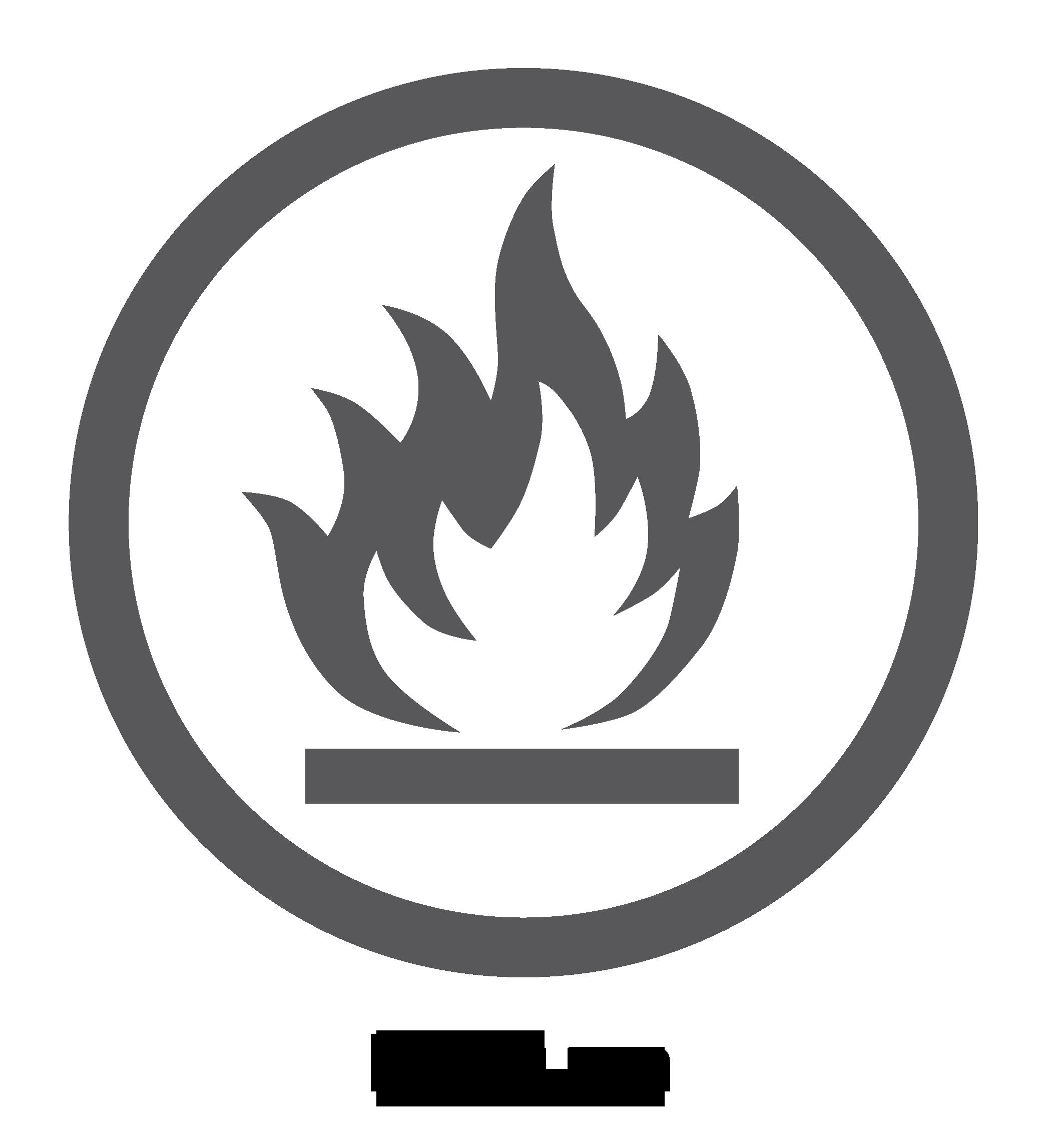 "Logotipo de ""superficie ignífuga"""